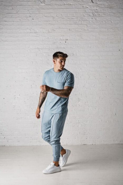 Chequered Zip Artisan Tracksuit in Sky Blue