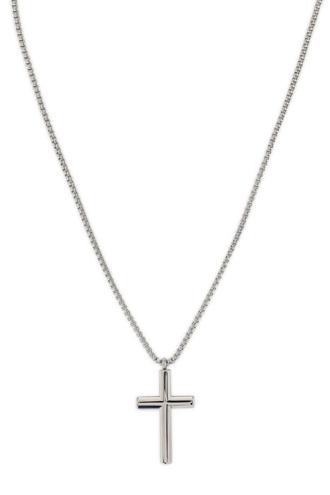HisColumn Design Necklace with cross in sterling silver