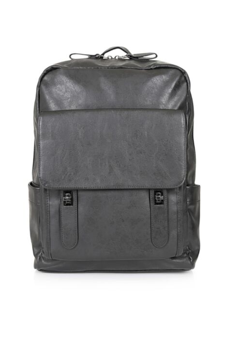 HisColumn Design Backpack in black faux leather and front pocket with double straps