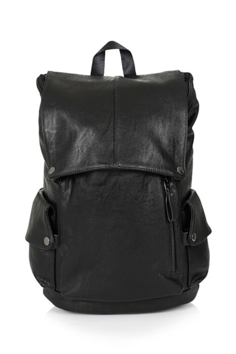HISCOLUMN DESIGN faux leather backpack in black with double straps and stud detail