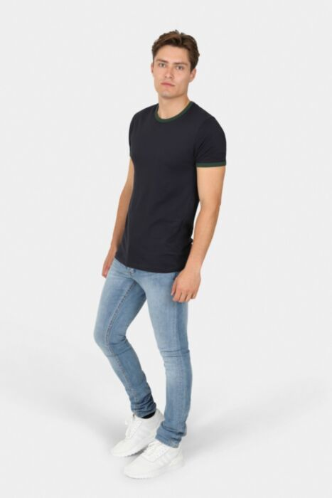 Navy T-shirt with Green Ringer