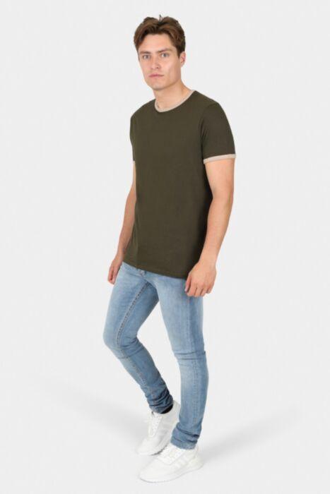 Khaki T-Shirt with Cream Ringer