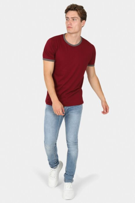 Wine T-Shirt with Grey Ringer