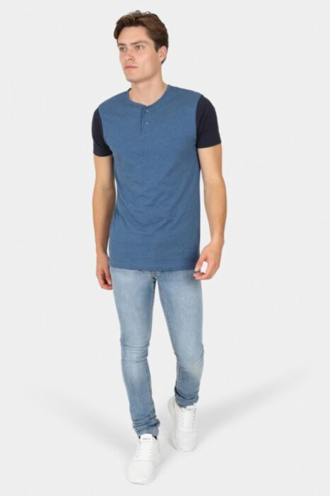 Vintage Blue T-Shirt with Button Scoop Neck