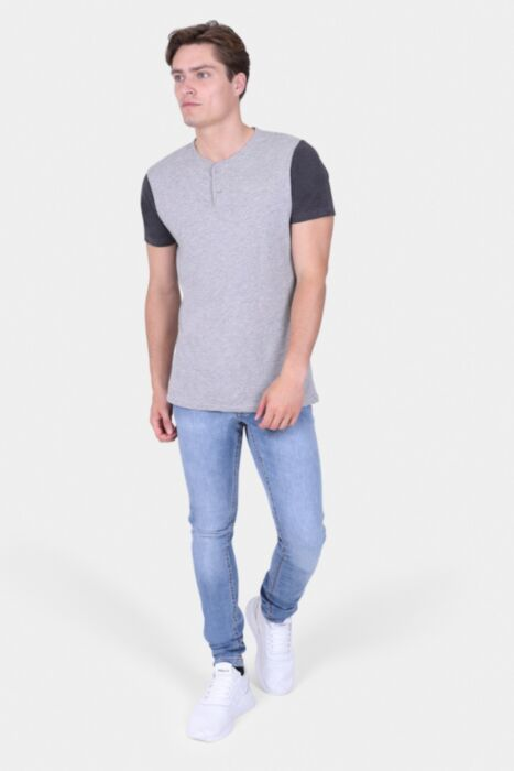 Light Grey T-shirt With Button Scoop Neck