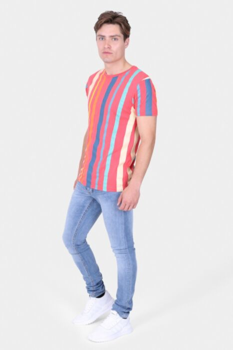 Red Multi-Coloured Stripe T-Shirt