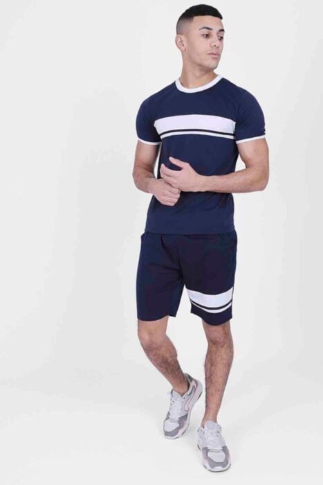 Navy Twin Set with Tipping Contrast