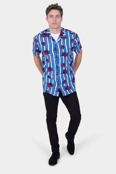 BLUE SHORT-SLEEVE STRIPE SHIRT