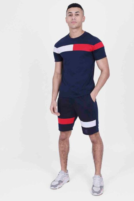 Two-Tone Twinset in Navy