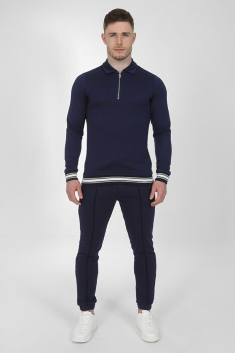 Jacquard Lux Tracksuit in Navy