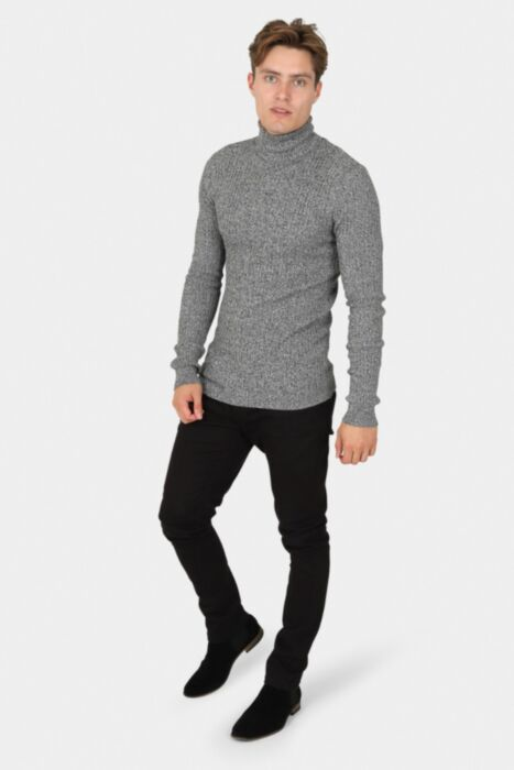 Muscle Fit Ribbed Roll Neck Jumper In Black and White Twist