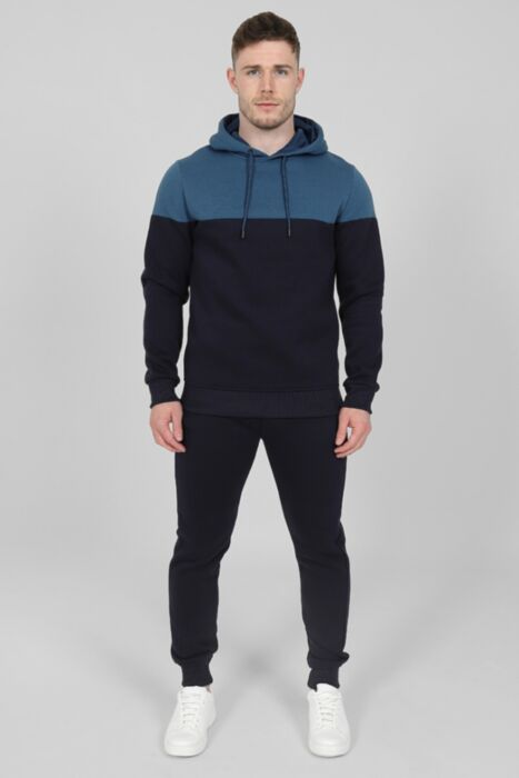 Contrasting Panel Tracksuit in Petrol Blue