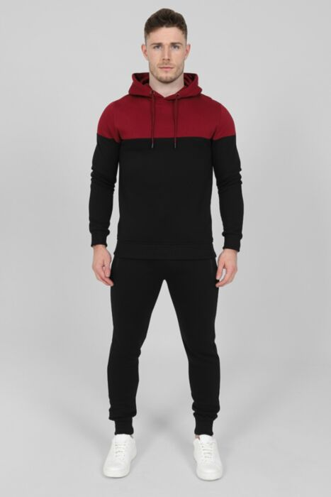 Contrasting Panel Tracksuit in Burgundy