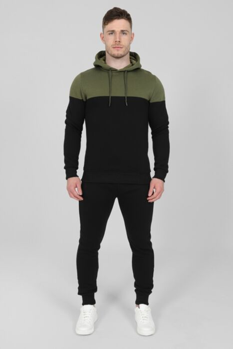 Contrasting Panel Tracksuit in Olive