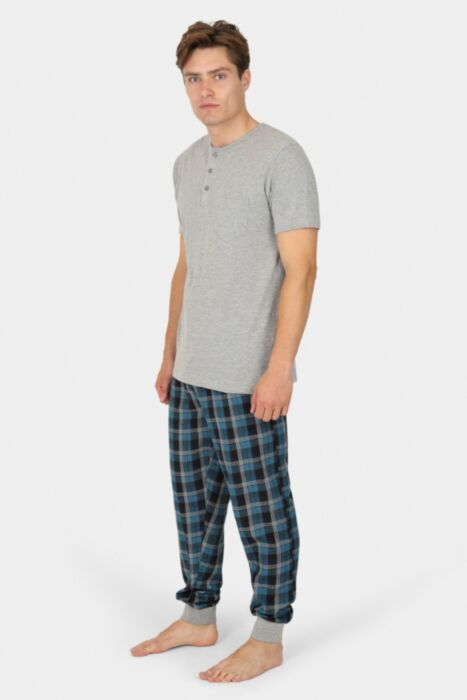 Navy Combo Chequered Nightwear With Plain Buttoned Tee