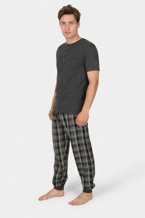 Grey Combo Chequered Nightwear With Plain Buttoned Tee