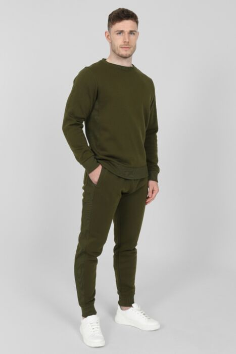 Side Rib Round-Neck Tracksuit in Olive