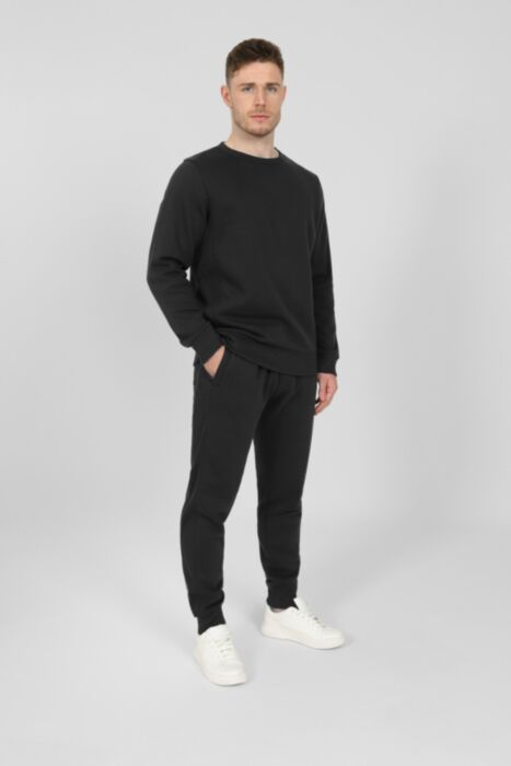 Side Rib Round-Neck Tracksuit in Black