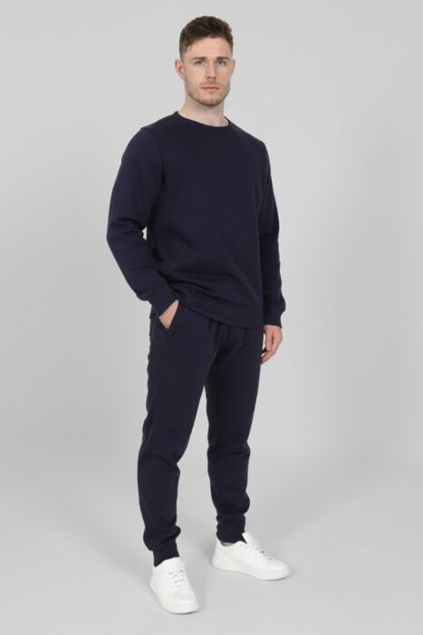 Side Rib Round-Neck Tracksuit in  Navy