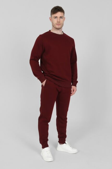 Side Rib Round-Neck Tracksuit in Burgundy