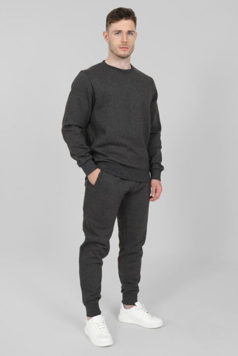 Side Rib Round-Neck Tracksuit in Charcoal
