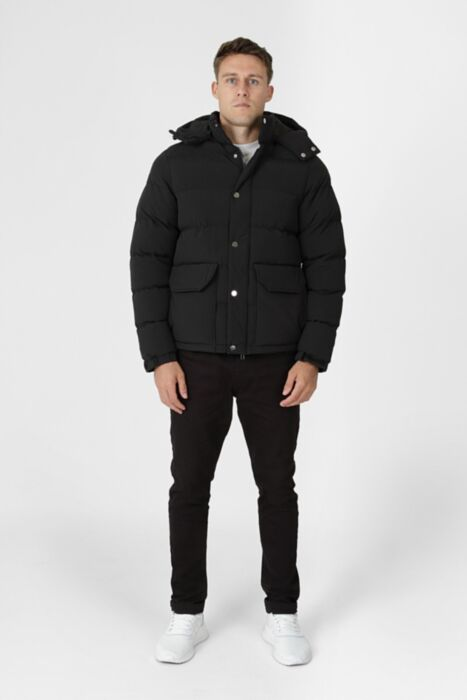 HisColumn Design Puffer Jacket In Black With Metal Studs
