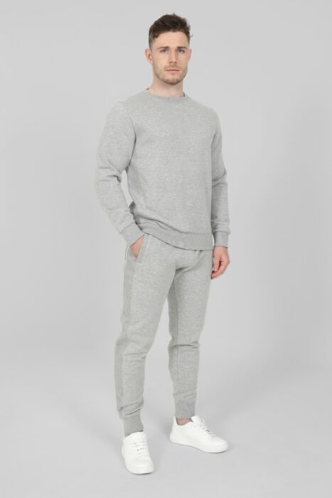 Side Rib Round-Neck Tracksuit in Grey