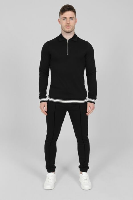 Jacquard Lux Tracksuit in Black