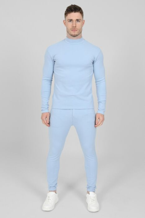 Roll-Neck Luxury Tracksuit in Blue