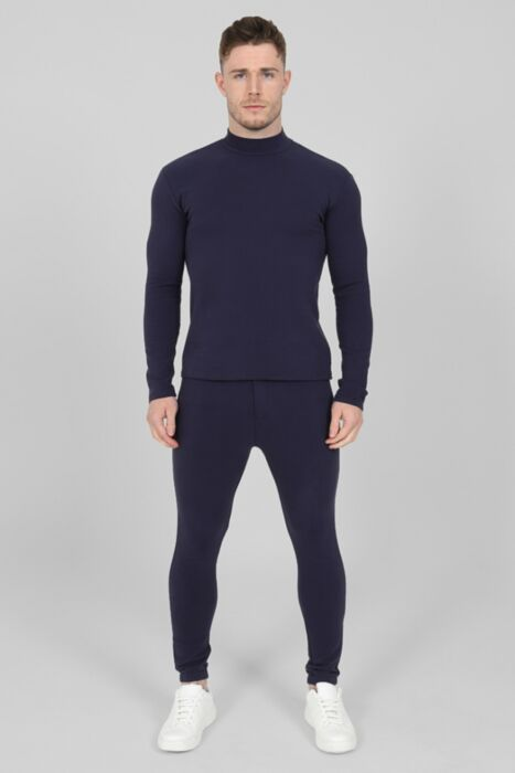Roll-Neck Luxury Tracksuit in Navy