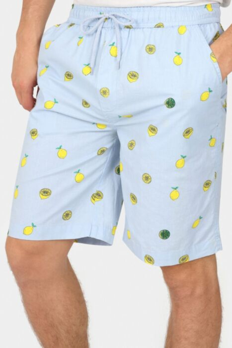 Lemon Print Cotton Shorts In Blue