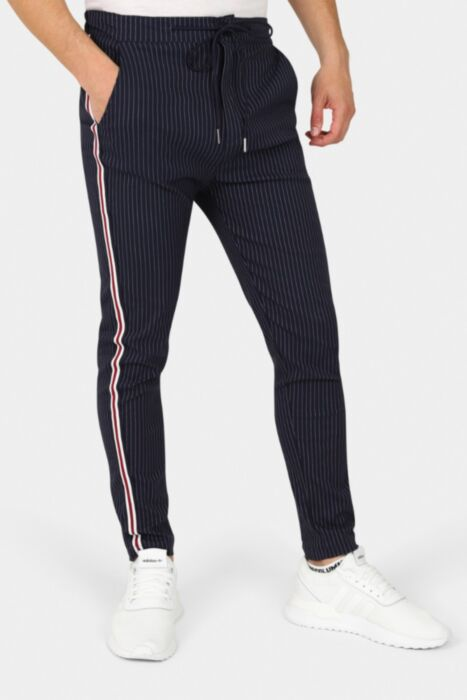 Slim Crop Striped Trousers In Navy With Side Stripe