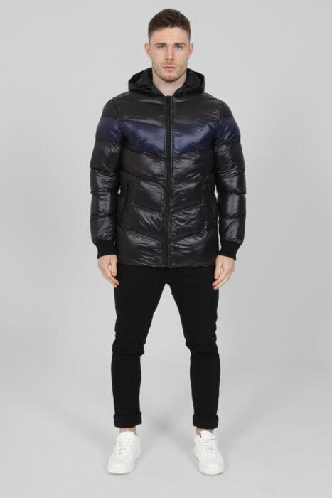 Shiny Padded Contrast Puffer in Black