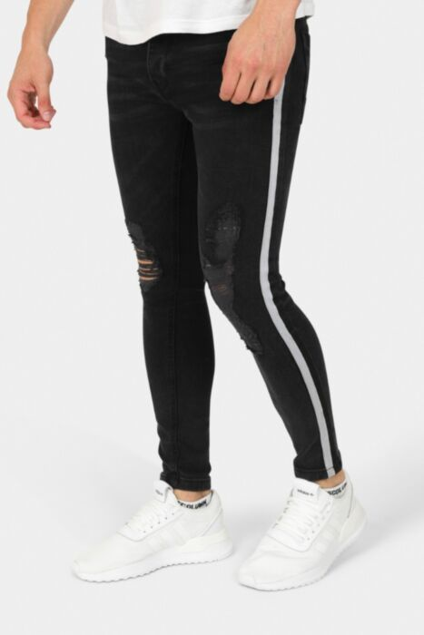 Ripped Washed Denim Skinny Jeans With Outer Leg Stripe