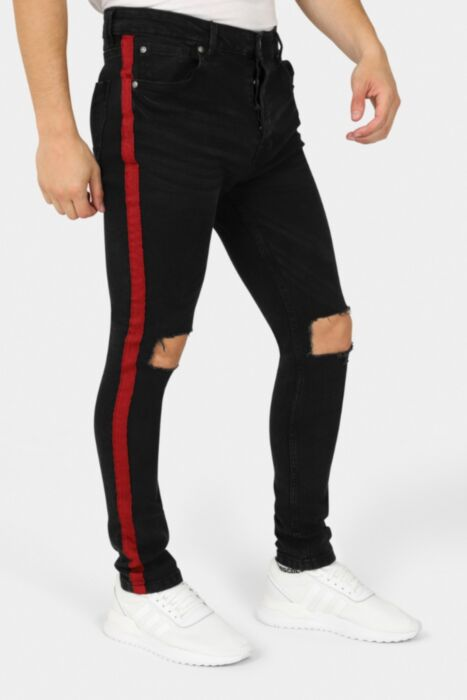 Charcoal Denim Ripped Jean With Red Tape