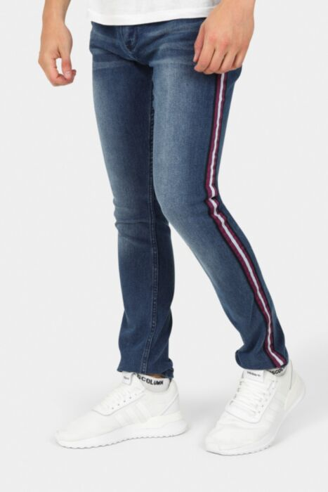 Blue Denim Skinny Fit Jeans With Striped Tape Detail