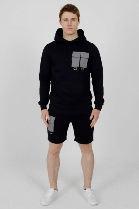 Reflective Panel Short Tracksuit Navy