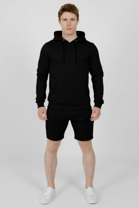 Hoody Lining Short Tracksuit in Black