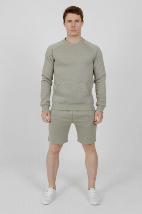 Plain CrewNeck Short Tracksuit Grey