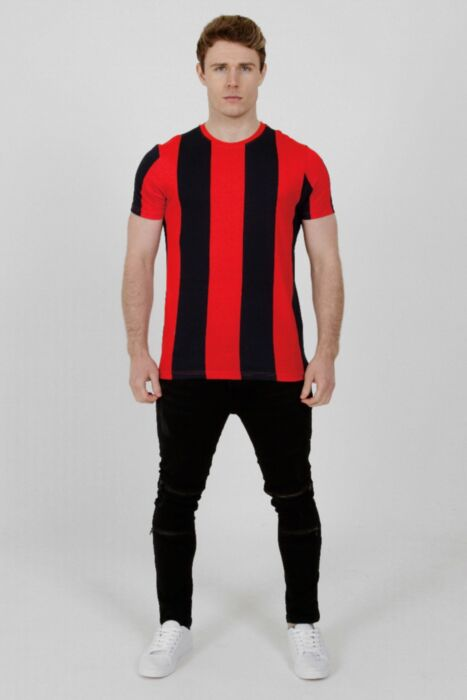 Contrasting Stripe T-Shirt in Red/Navy