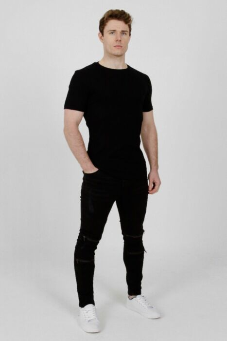 Muscle Fit Ribbed T-Shirt Black