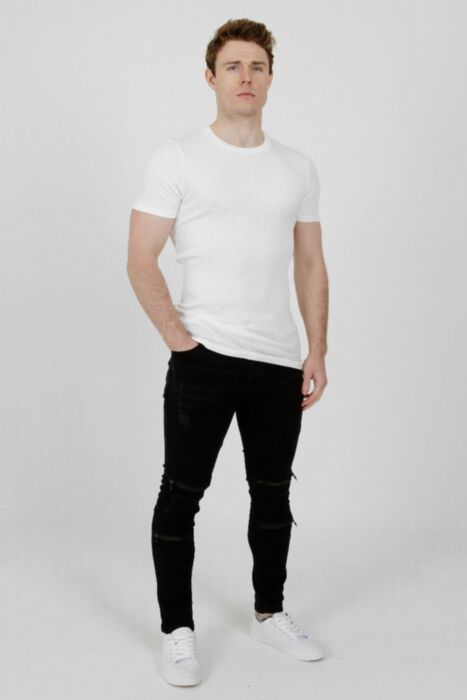 Muscle Fit Ribbed T-Shirt White