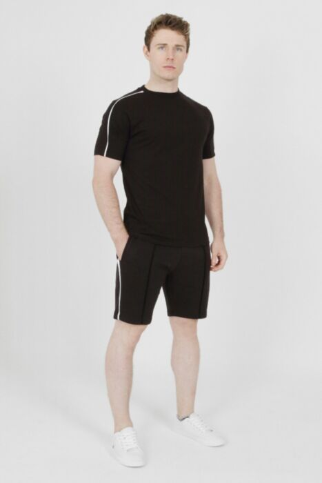 White lined piping short set in Black