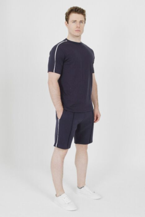 White Lined Piping Short in Navy