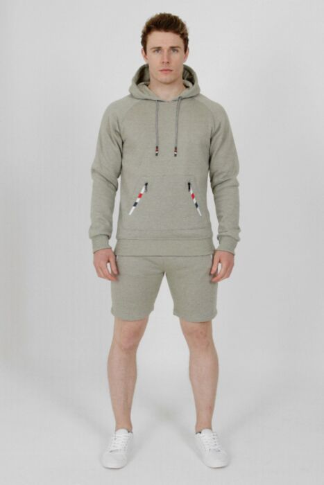 Hoody Zip Short Tracksuit in Grey