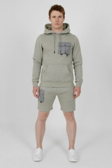 Reflective Panel Short Tracksuit Grey