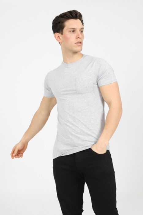 Premium muscle fit t-shirt with chest pocket in Grey