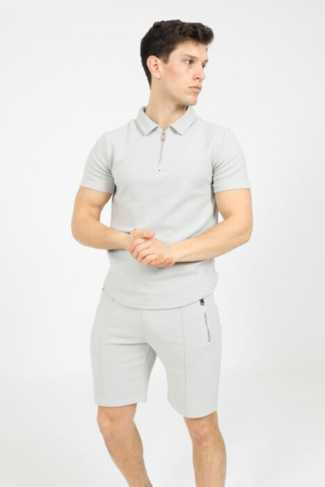 Premium Design Pique Short Set in Light Grey