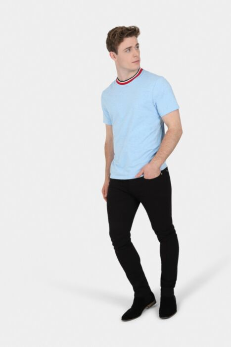 HisColumn Design Sky Blue Tipped Ringer T-Shirt
