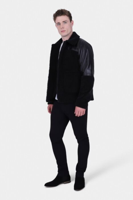 HisColumn Design Borg Jacket With PU Shoulder Panel In Black